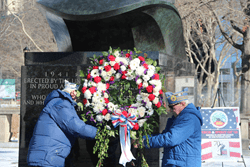 WWII veterans commemorated the 70th anniversary of the end of the Battle of the Bulge with a wreath laying ceremony at New York's WWII Memorial on Sunday, January 25.