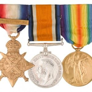 Medals awarded to Second Lieutenant William Eve, 6th (City of London) Battalion, The London Regiment (1914 Star with clasp: 5th Aug - 22nd Nov 1914; British War Medal 1914-20; Allied Victory Medal 1914-19) (Credits: NAM)