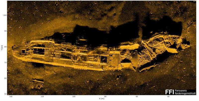 Shipwreck at a depth of 600 m (Credit: FFI - Forsvarets forskningsinstitutt)