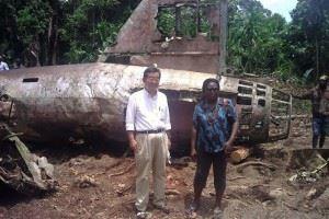 Japanese ambassador to PNG Hiroharu Iwasaki at the Yamamoto crash site