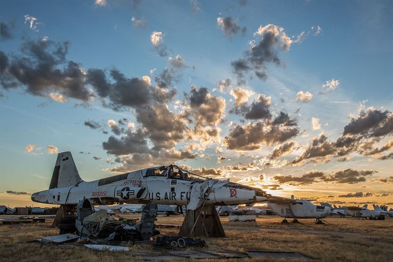 "A retired T-38 Talon sits in pieces inside the ""Boneyard"" at Davis-Monthan Air Force Base, Ariz. Officially called the 309th Aerospace Maintenance and Regeneration Group, the ""Boneyard"" is a 2,600-acre facility that stores more than 4,000 airframes from around the U.S. military. (Credits: U.S. Air Force photo/Andrew Breese)"