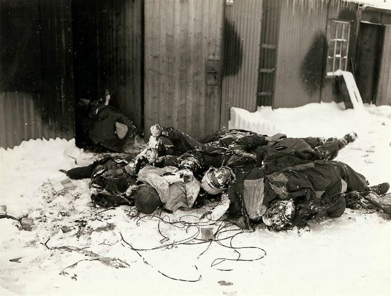 A pile of dead German soldiers, France, frozen due to the cold weather.