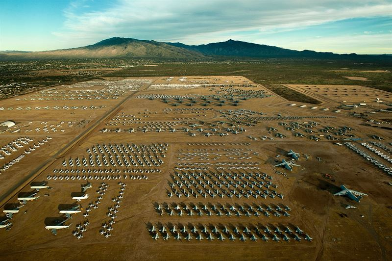 "A northern aerial view of the ""Boneyard"" of the 309th Aerospace Maintenance and Regeneration Group at Davis-Monthan Air Force Base, Ariz (Credits: U.S. Air Force photo/Tech. Sgt. Bennie J. Davis III)"