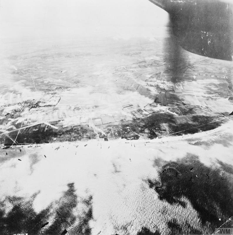 Aerial photo of Gold assault area during the landing of 50th Infantry Division.