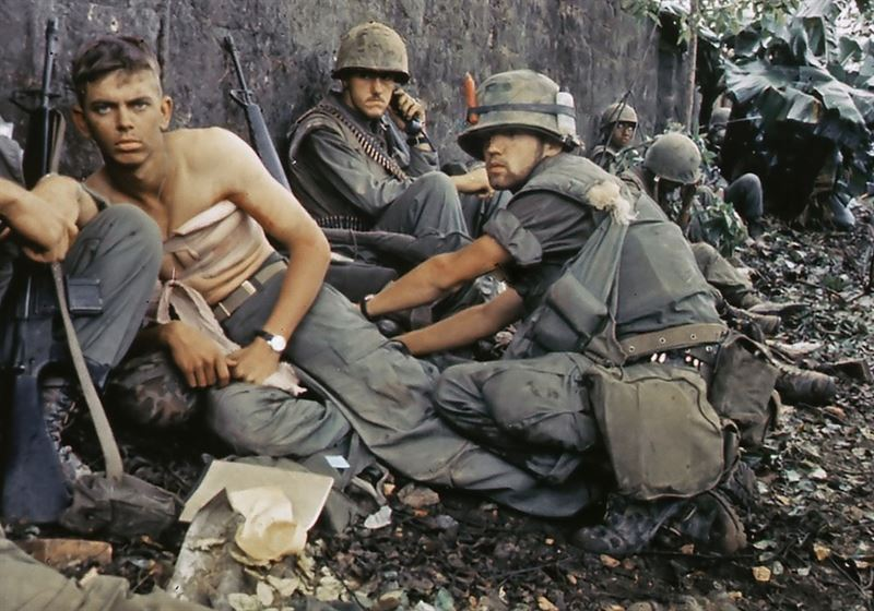 "Twentieth Century ""Angel of Mercy"" -- D. R. Howe (Glencoe, MN) treats the wounds of Private First Class D. A. Crum (New Brighton, PA), ""H"" Company, 2nd Battalion, Fifth Marine Regiment, during Operation Hue City - Battle of Hue"