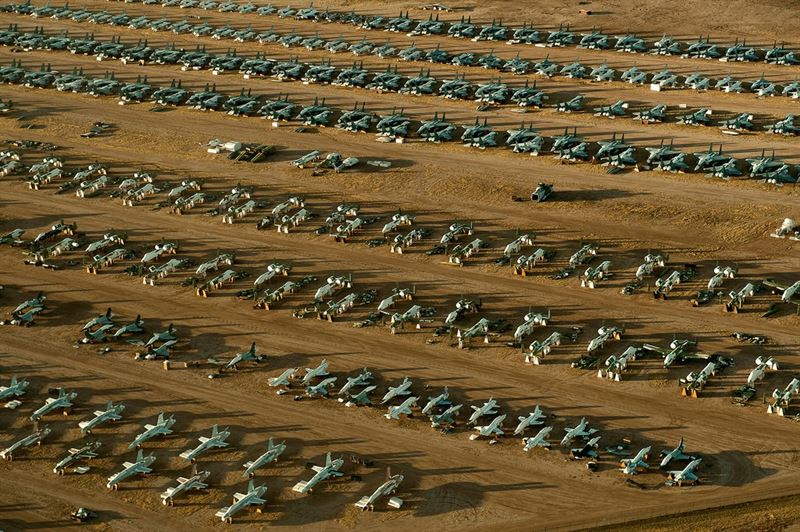 "Rows of fighter aircraft preserved inside the 309th Aerospace Maintenance and Regenerations Group's ""Boneyard"" at Davis-Monthan Air Force Base, Ariz. The Arizona desert is a natural selection to house for the Air Force's only aircraft ""boneyard"" due to the lack of rust and metal deterioration with the lack of humidity in the desert. (Credits: U.S. Air Force photo/Tech. Sgt. Bennie J. Davis III)"
