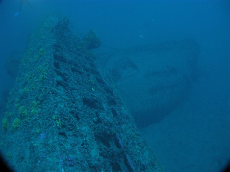The wreck of U-133, broken in two, after hitting a mine off Aegina Island, Greece. (Credits: Kostas Katsaros)