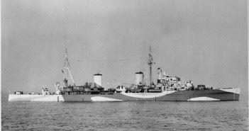 Battle of Duisburg Convoy - Photograph of British light cruiser HMS Penelope at Spithead.
