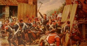 Sous Lieutenant Legros wielding his axe through the North Gate, Hougoumont.
