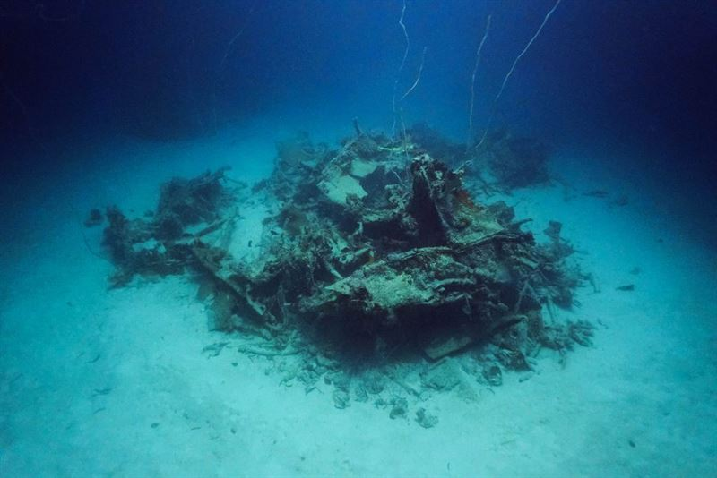 Wreckage of the U.S. Navy TBM-1C Avenger located by Project RECOVER off Palau. (CREDITS: Eric Terrill (Scripps) / Mark Moline (UD))