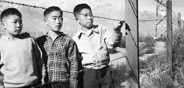 Japanese boys at an internment camp in the United States during World War II.