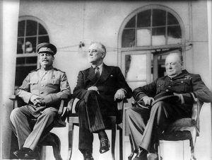 "The ""Big Three""; Stalin, Roosevelt, Churchill at the Teheran Conference, November 1943."