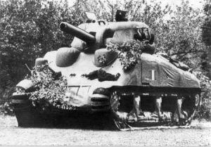 An inflatable, dummy Sherman Tank, 1944.