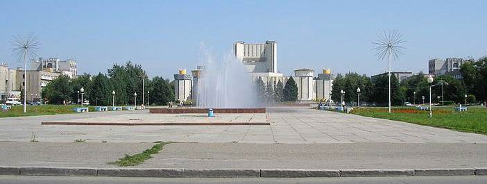 The Semey central square. Unlike many former nuclear test sites, Semey continues to operate as a city, regardless of the danger that was once posed to the citizens. Many stayed after the testing took place, continuing life as normal.