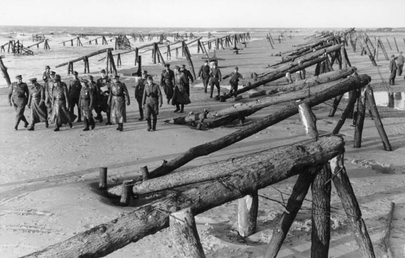 Erwin Rommel inspecting barriers on the beaches of the Atlantic Wall, April 1944.