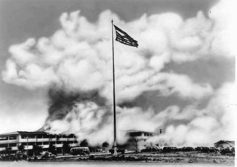 Hickams barracks in flames - Herb Gilmore