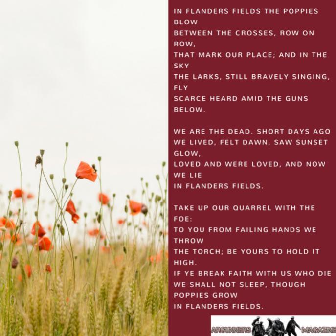 """""""In Flander's Field,"""" written by Lieutenant Colonel John McCrae in 1915"""