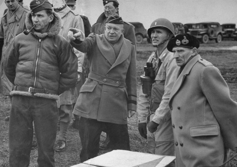 General Dwight D. Eisenhower, Bernard Montgomery, and Air Marshall Sir Arthur Tedder